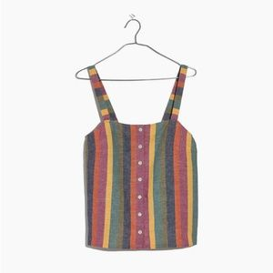 NWT Madewell Rainbow Stripe Button-Up Tank Top XXS